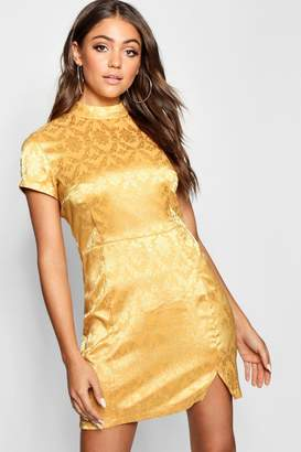 boohoo Jacquard Oriental Bodycon Dress