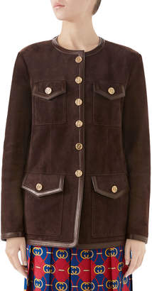 Gucci Goat Suede Leather-Trim Jacket