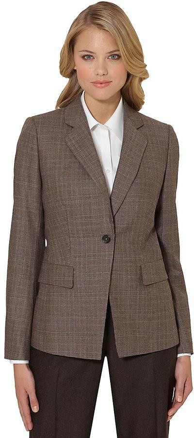 Wool One-Button Plaid Slim Fit Jacket