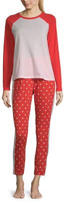 SLEEP CHIC Sleep Chic Folded Ringer Tee Pant Pajama Set- Talls