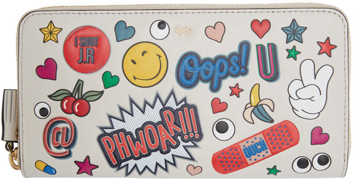 Anya HindmarchAnya Hindmarch Ivory Large Wink Stickers Wallet