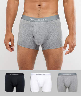 Abercrombie & Fitch 3 Pack Boxers Logo Waistband in White/Gray/Black