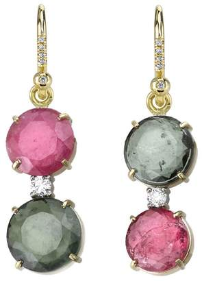 Irene Neuwirth Green And Pink Tourmaline Drop Earrings