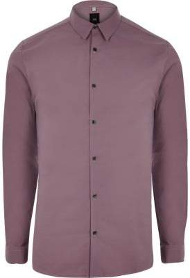 River Island Purple muscle fit long sleeve shirt