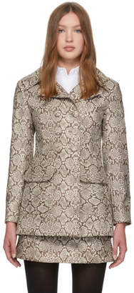 ALEXACHUNG Brown Snake Double-Breasted Peacoat