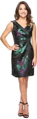 Tahari ASL Petite Floral Print Side Ruche Sheath Women's Dress