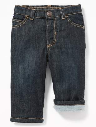 Old Navy Micro-Fleece-Lined Straight Jeans for Baby