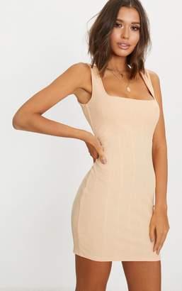 PrettyLittleThing Nude Bandage Square Neck Bodycon Dress