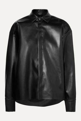 A.W.A.K.E. Mode Business Woman Asymmetric Faux Leather Shirt - Black