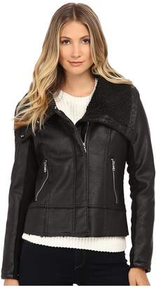 Sam Edelman PU w/ Oversize Sherpa Collar Moto Jacket Women's Coat