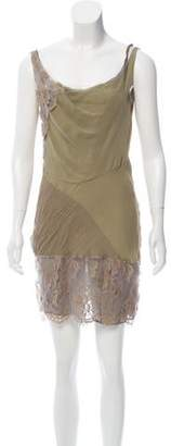 John Galliano Silk Lace-Paneled Dress