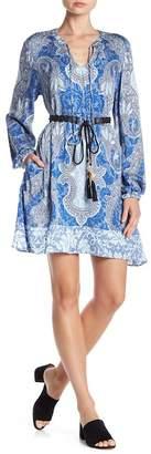 Hale Bob Belted Printed Long Sleeve Dress