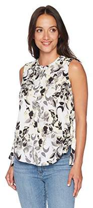Ellen Tracy Women's Petite Sleeveless Ruched Blouse
