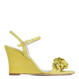 Lime Suede Catherine Wedge Sandals