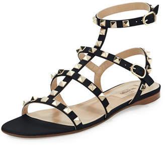 Valentino Rockstud Leather Flat Sandal