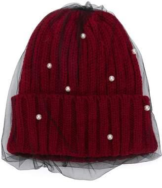 CA4LA mesh embellished beanie hat