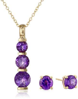 18k Yellow Gold Plated Sterling Silver African Amethyst Journey Pendant Necklace and Stud Earrings Set