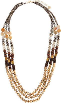 Nakamol Metallic Mixed Bead Triple-Layer Necklace