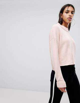 Noisy May High Neck Chenille Cropped Jumper