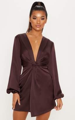 PrettyLittleThing Chocolate Brown Satin Knot Detail Plunge Shift Dress b2418eb4b