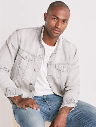 Lucky Brand Lightweight Linen Denim Trucker Jacket
