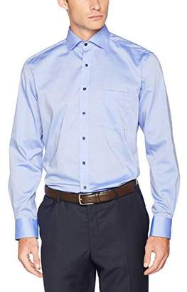 Eterna Men's Modern Fit Langarm Mittelblau Uni Mit Classic Kent-Kragen Formal Shirt