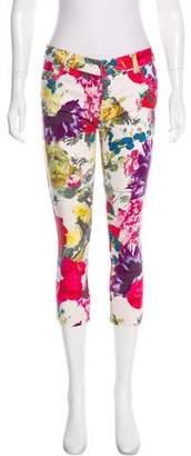 Alice + Olivia Floral Print Mid-Rise Skinny Jeans