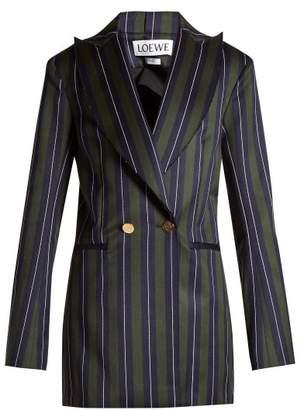 Loewe Striped Double Breasted Wool Blend Blazer - Womens - Green Stripe