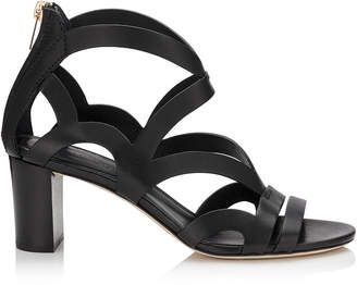 Jimmy Choo METRIC 65 Black Vachetta Leather Sandals