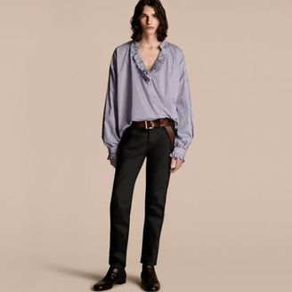 Burberry Ruffle Detail Striped Cotton Tunic $595 thestylecure.com