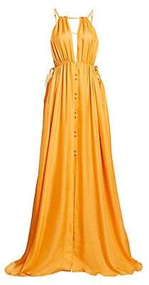 Cult Gaia Women's Agatha Plunging Silk Maxi Dress