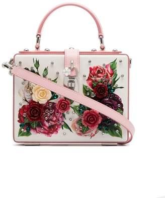 Dolce & Gabbana cream, pink and purple dauphin leather box bag