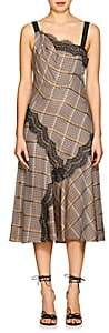 Prabal Gurung Women's Lace-Trimmed Checked Twill Slipdress - Brown Multi