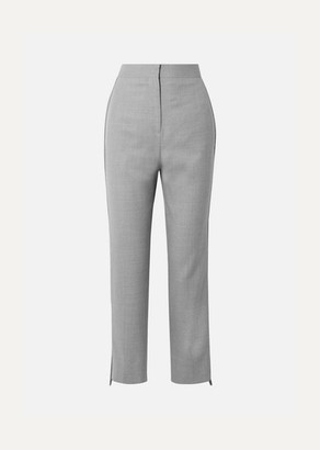 Burberry Jersey-trimmed Wool Straight-leg Pants - Gray