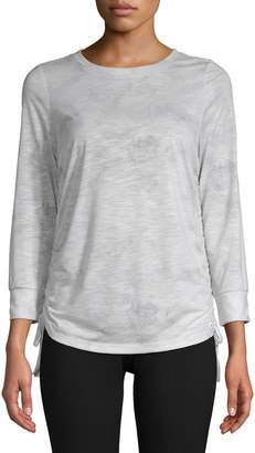 Andrew Marc Ruched Three-Quarter Sleeve Top