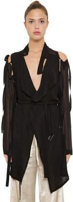 Ann Demeulemeester Georgette Dress W/ Detachable Sleeves