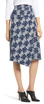 Halogen Floral Plaid Asymmetrical Skirt