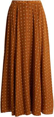 DIANE VON FURSTENBERG Button-through Arbor dot-print silk skirt $423 thestylecure.com