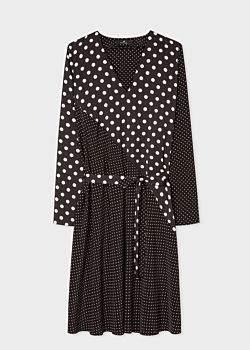 Women's Black And White Polka Dot V-Neck Shirt Dress