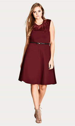 City Chic Ruby Embroidered Flower Dress