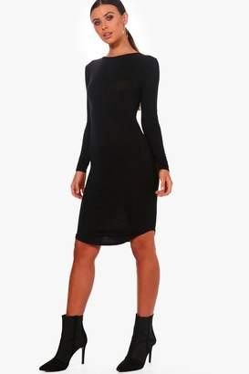 boohoo Petite Curve Hem Long Sleeve Midi Dress