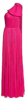 J. Mendel Women's One-Shoulder Puff Bow Pleated Silk Gown