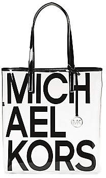 MICHAEL Michael Kors Women's Large Translucent Leather-Trim Logo Tote