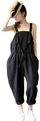 Yeokou Women's Loose Baggy Linen Wide Leg Jumpsuit Rompers Overalls Harem Pants