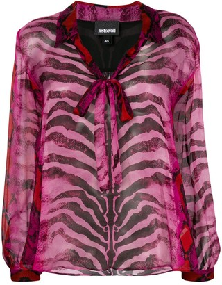 Just Cavalli animal-print sheer blouse