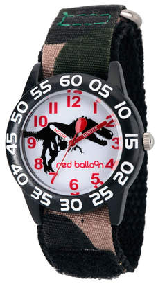 EWatchFactory Red Balloon Dinosaur Boys' Black Plastic Time Teacher Watch