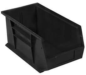 Quantum Storage Systems Plastic Stacking Bin 5-1/2 x 14-3/4 x 5, Black, Lot of 12
