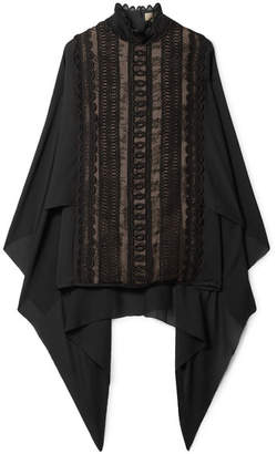 Elie Saab Cape-back Cotton-blend Lace And Georgette Turtleneck Blouse - Black