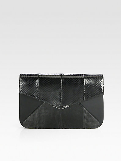 Fendi 2Jours Python & Leather Clutch