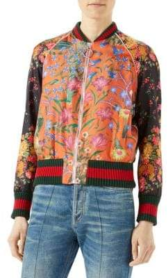 Gucci Floral-Print Bomber Silk Jacket